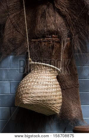 bamboo craft tool for catch fish with Coir raincoat,china style.