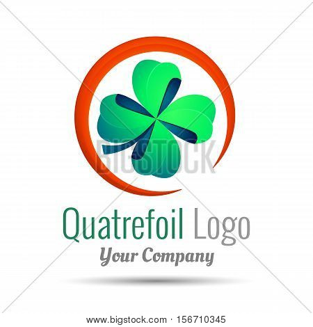 Saint Patrick quatrefoil luck symbol. Business Volume Logo Colorful. 3d Vector Design. Corporate identity. Clover with four leaves sign icon.