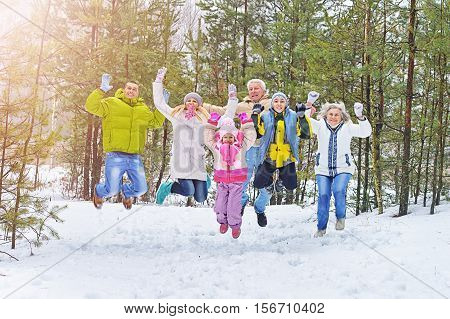 Big happy family having fun in winter park covered with snow