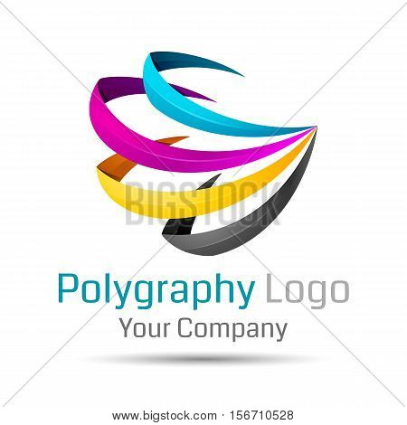 CMYK logo. Can be used in business connected printers illustration. Volume Logo Colorful 3d Vector Design Corporate identity
