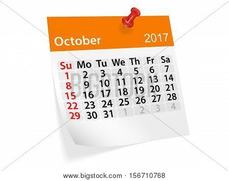 Monthly pinned note calendar for October 2017. 3d illustration