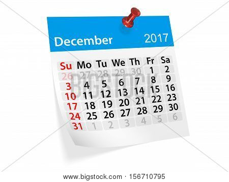 Monthly pinned note calendar for December 2017. 3d illustration