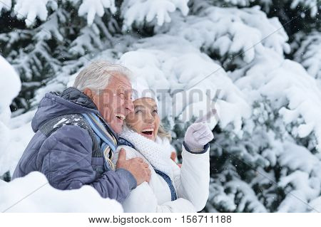 Portrait of happy senior couple having fun in winter park, woman pointing at something
