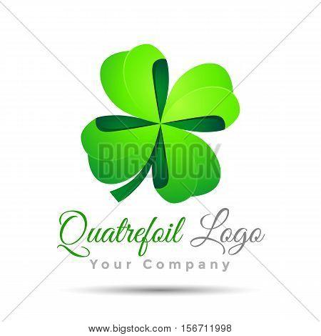 Clover with four leaves sign icon. Saint Patrick quatrefoil luck symbol. Colorful Vector 3d Volume Logo Design Corporate identity