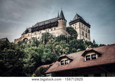 Karlstejn Castle a large medieval gothic castle. Karlstejn village Czech Republic.