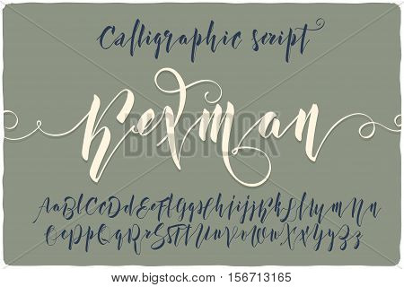 Elegant calligraphic script font named