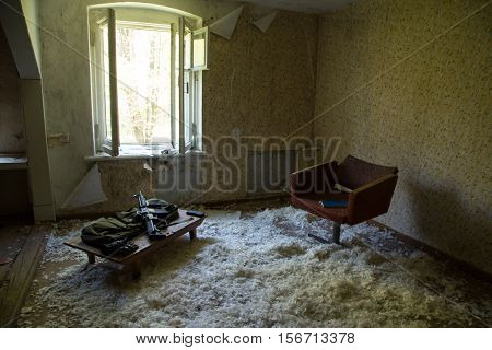 Abandoned destroyed house destroyed interior prepared weapons abandoned house ruined building mess interior