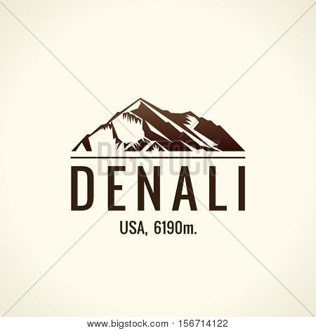 Mountain tourist vector logo. Emblem Mount adventures. Icon mount. Highest mountains in world. Denali, McKinley