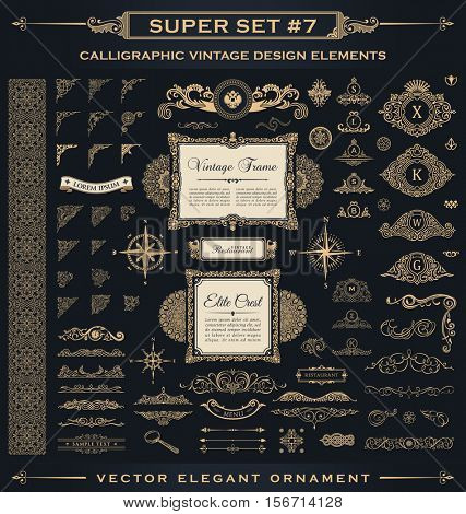 Calligraphic Design vintage Gold elements. Vector flourishes illustration logo set. Border frame collection royal ornament page decoration for menu card, invitations, labels, Restaurant, Cafe, Hotel