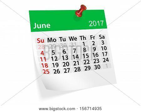 Monthly pinned note calendar for June 2017. 3d illustration