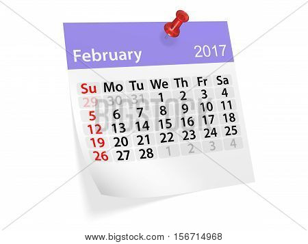 Monthly pinned note calendar for February 2017. 3d illustration