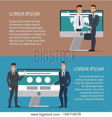 Handshake of two business people with laptop. On line deal. Cartoon poster vector illustration. Banners for your web design in business style. Template for your text. Business characters set.