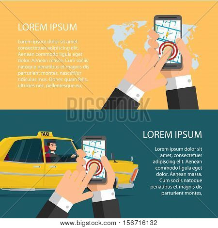 Taxi service. Smartphone and touchscreen, city skyscrapers. Cartoon poster vector illustration. Banners for your web design in business style. Template for your text. Business characters set. .