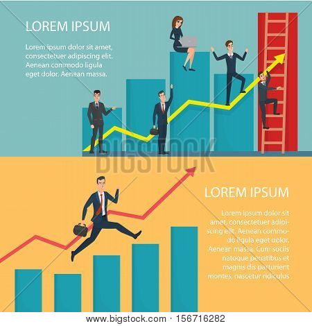 Business People Running Arrow Graph Up Climbing. Cartoon poster vector illustration. Banners for your web design in business style. Template for your text. Business characters set.