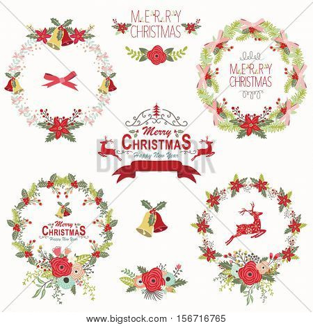 Retro Christmas Wreath Elements