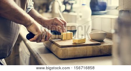 Man Mixing Butter Pastry Bakery Concept