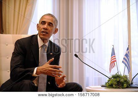 U.s. President Barack Obama  With The Greek Prime Minister Alexis Tsipras