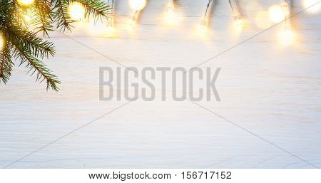 Christmas holidays background with Christmas tree light on white background