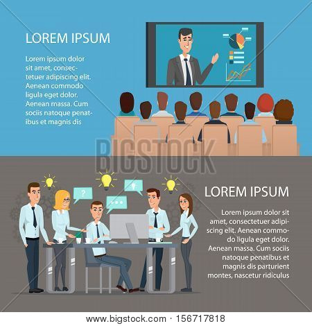 Set of business concept, training, meeting, agreement or partnership. Cartoon poster vector illustration. Banners for your web design in business style. Template for your text. Business set.