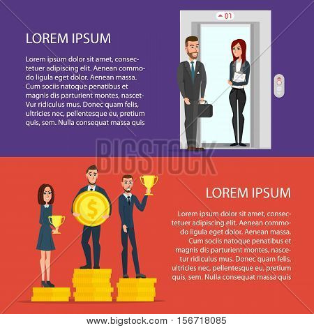 Businessmen get golden trophy. Workers raised in the elevator to the next level. Cartoon poster vector illustration set. Banners for your web design in business style. Template for your text.