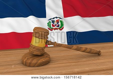 Dominican Law Concept - Flag Of The Dominican Republic Behind Judge's Gavel 3D Illustration