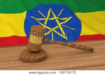 Ethiopian Law Concept - Flag Of Ethiopia Behind Judge's Gavel 3D Illustration