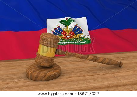 Haitian Law Concept - Flag Of Haiti Behind Judge's Gavel 3D Illustration