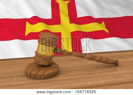 Channel Islands Law Concept - Flag Of Guernsey Behind Judge's Gavel 3D Illustration