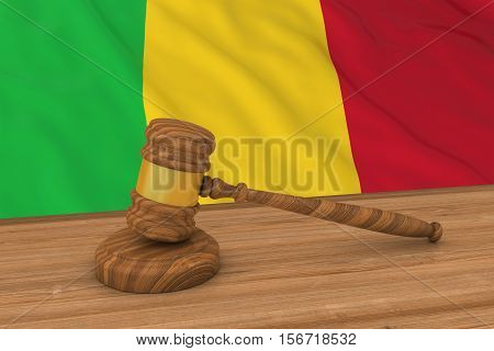 Malian Law Concept - Flag Of Mali Behind Judge's Gavel 3D Illustration