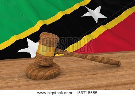 Saint Kitts And Nevis Flag Behind Judge's Gavel 3D Illustration