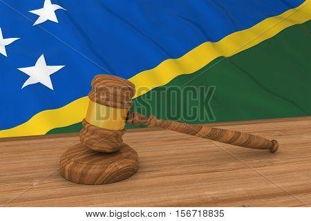 Solomon Island Law Concept - Flag Of Solomon Islands Behind Judge's Gavel 3D Illustration