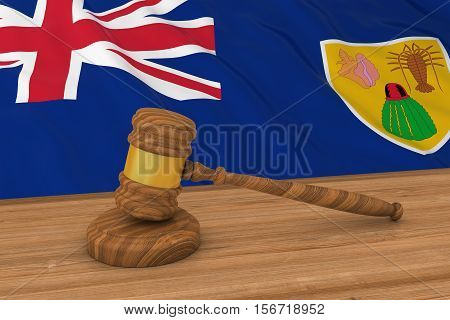 Turks And Caicos Islands Flag Behind Judge's Gavel 3D Illustration