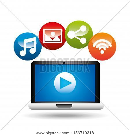 video player social media icons design vector illustration eps 10
