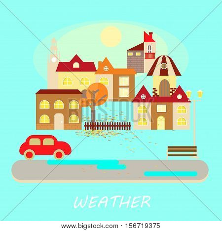 Autumn weather colorful landscape banner. It's sunny. Small town landscape in flat style. Vector illustration