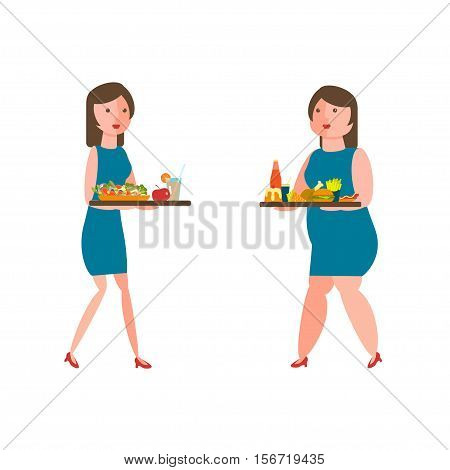 Fat and thin women with lunch tray with healthy and junk food in flat style. Vector illustration