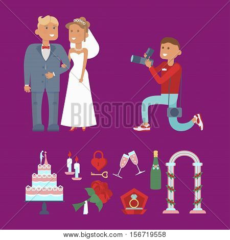 Set of wedding couple, photographer characters and icons for infographic. Cartoon style. Vector illustration isolated