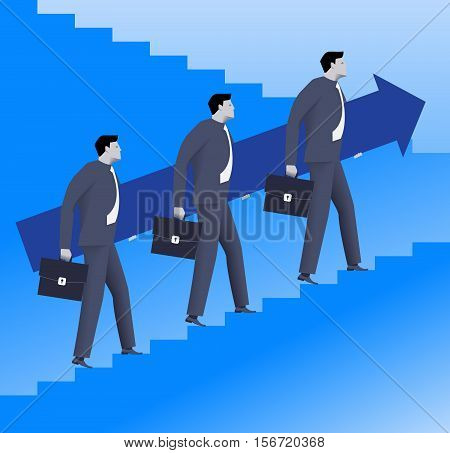 Teamwork business concept. Three confident businessmen in suits and with cases raising up the ladder holding big arrow. Team teamwork career opportunities and career ladder.
