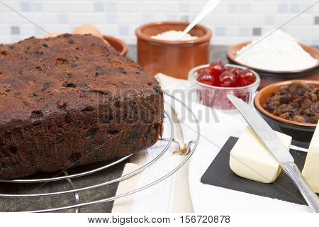 Christmas cake A traditional British fruit Christmas cake with ingredients