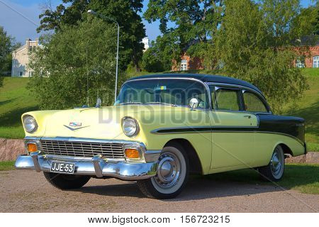 LAPPEENRANTA, FINLAND - AUGUST, 21 2016: American cars Chevrolet Bel Air 1955 model year close-up