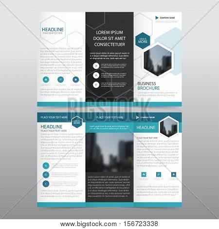 Blue hexagon business trifold Leaflet Brochure Flyer report template vector minimal flat design set abstract three fold presentation layout templates a4 size