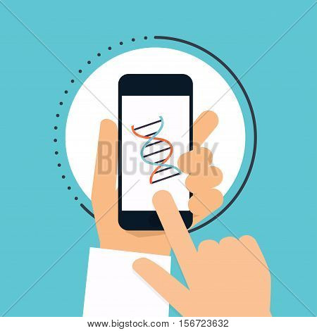 Hand holds smartphone with DNA icon on smartphone screen. Vector modern creative flat design with medical assistance and doctor. Vector illustration.