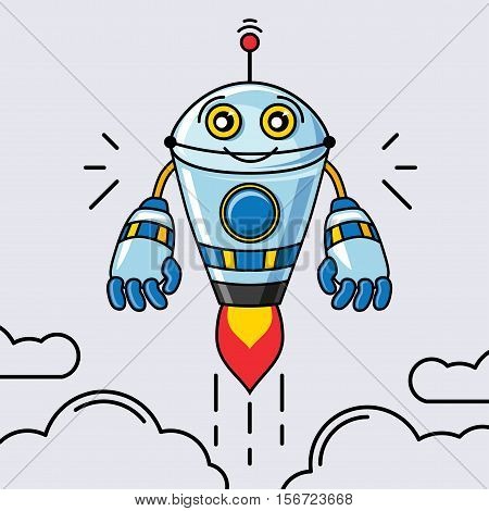 Robot on a white background.  Robot illustration. Robot vector. Robot poster. Robot Vector illustration.