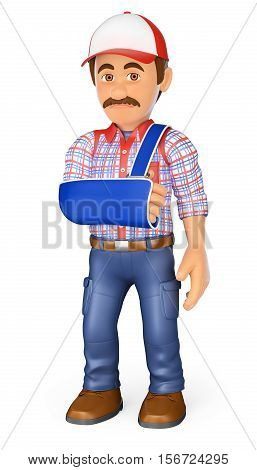 3d working people illustration. Worker with arm in sling. Occupational accident. Isolated white background.