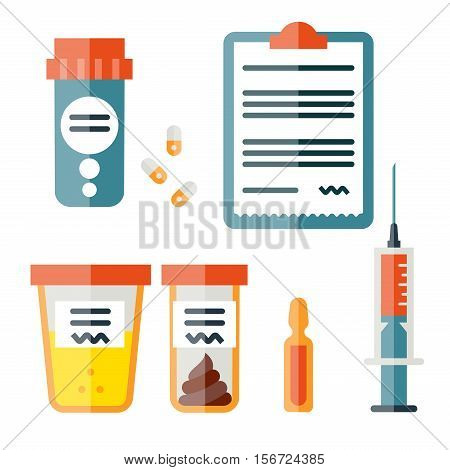 Icon set in flat style. Medicine illustrations. Medicine and drugs. Vector illustration.