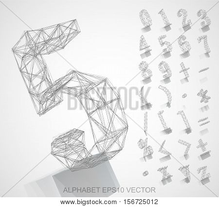 Abstract illustration of a Pencil sketched Numbers And Mathematical Symbols with Reflection. Set of hand drawn 3D Numbers And Mathematical Symbols for your design. EPS 10 vector illustration