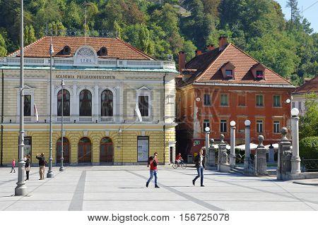 Ljubljana Slovenia - September 25 2016: City center. Congress Square and Slovenian Philharmonic.