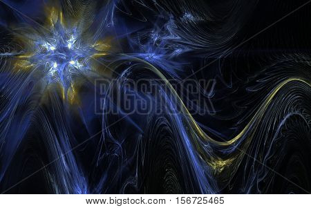 fractal bright ice crystal star with a yellow glow and the frozen wavy tail on a black background