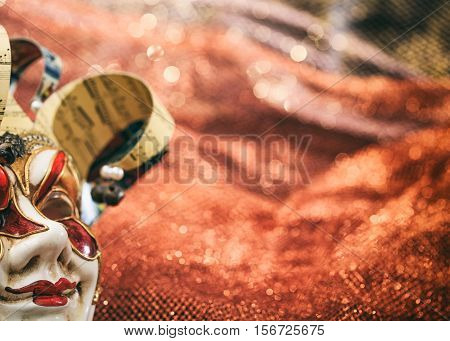 Carnival Mask On Brown Blur Background