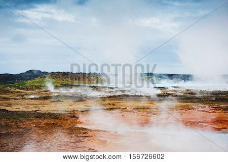 Gunnuhver geothermal area Reykjanes peninsula in Iceland poster