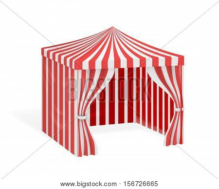 Carnival tent for outdoor party event. Mockup striped marquee for circus. Vector illustration